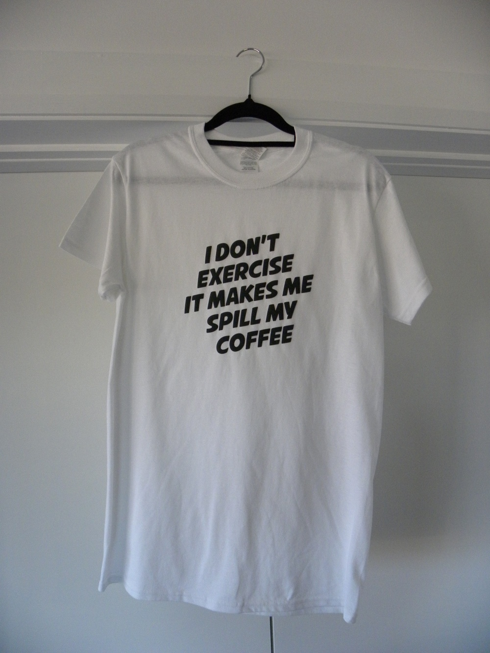 white I don't exercise shirt