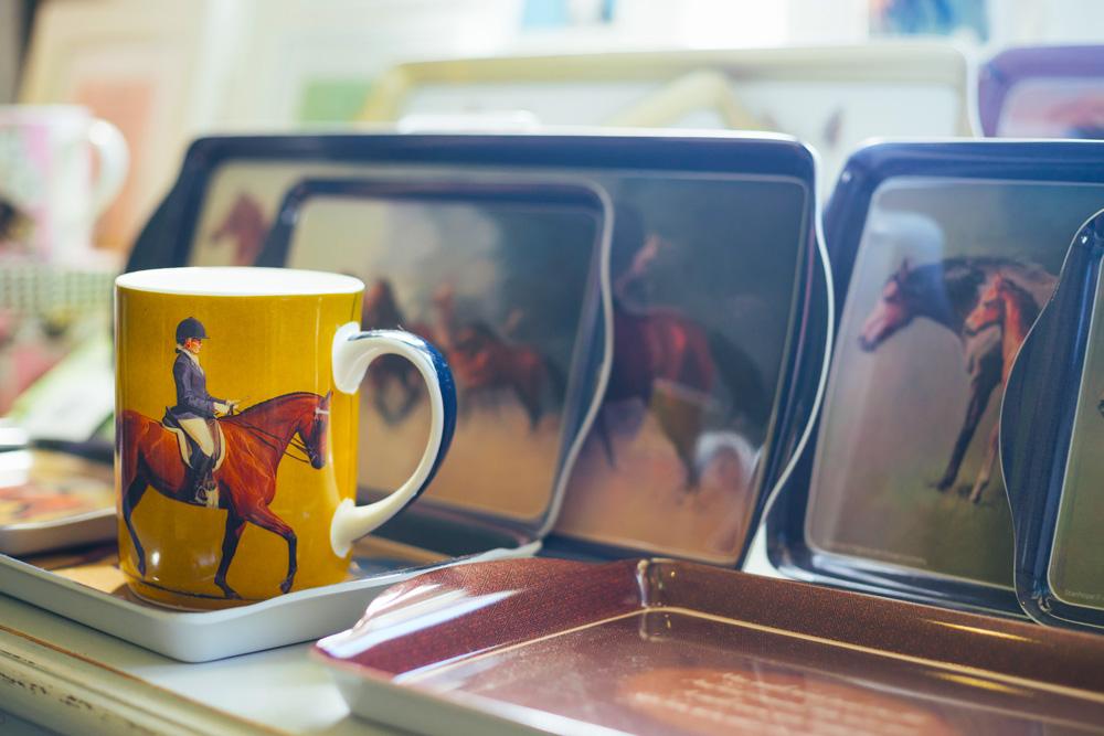 lady riding horse mug